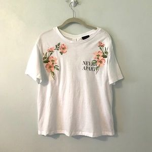 Topshop embroidered lace up top